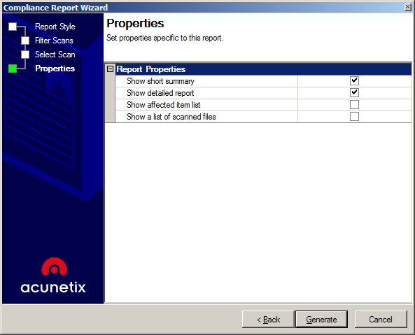 Screenshot Select Report Properties 6. Click the Generate button to generate the report. 7. Once the report is generated, it can be printed or exported in various formats including PDF, Word and HTML.