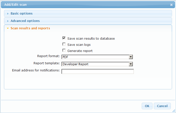 Scheduled scan results and reports Screenshot Acunetix Scheduler Scan results and Reports In the Scan results and reports section, you can select to save the scan results to the reporting database,