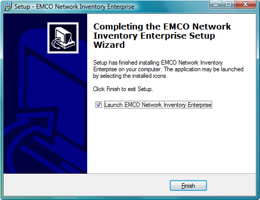 Installing on the Local Machine 6 The EMCO Network Inventory program will be installed to the desired location. Once the program is installed the following screen is displayed.