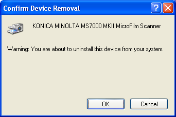 The Driver Software Installation (32bit driver) 2 4. Uninstall the Imaging Devices - KONICA MINOLTA MS7000MKII MicroFilm Scanner or Imaging Devices - KONICA MINOLTA MS6000MKII MicroFilm Scanner.