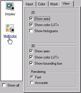 "Software: Data Viewing Functions View tab "" If you click on the Show Axes check box, the two or three spatial axes of the cytofluorogram are shown."