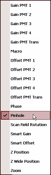 Appendix KSelect «Gain PMT 1..» or «Offset PMT 1...» if you want to adjust the signal amplification and the threshold value for the corresponding detector.