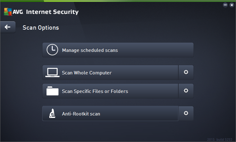 11. AVG Scanning By default, AVG Internet Security 2015 does not run any scans, as after the initial one (that you will be invited to launch), you should be perfectly protected by the resident