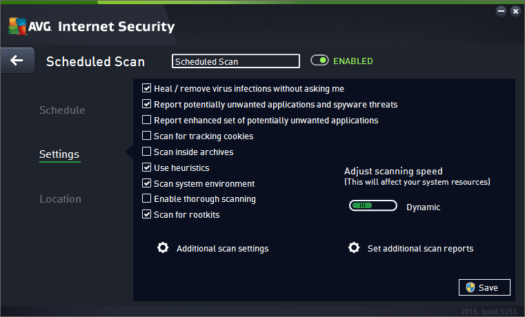 - Use the green arrow in the upper left section of the dialog to get back to the Scheduled scans overview. 11.4.2.