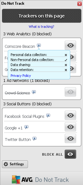 Block All - Click the button located in the bottom section of the dialog to to say you do not wish any data collection activity at all (for details see chapter Block ing track ing processes).