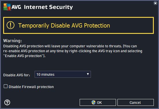 the Enable Resident Shield item) first. If you do have to temporarily disable AVG Internet Security 2015, you should re-enable it as soon as you're done.