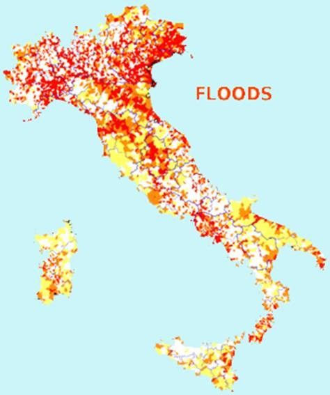 Chapter 1 Flood risk in Italy and in Umbrian territory AVI project : an inventory of sites historically affected by floods in the last century Very high vulnerable sites (L.