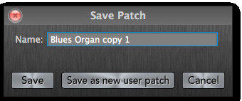 The Save Patch Dialogs Additional dialogs appear when saving or browsing patches. 1. Patches window. Appears when you click the Patch Readout area s Browse Patches button. (figure 14).