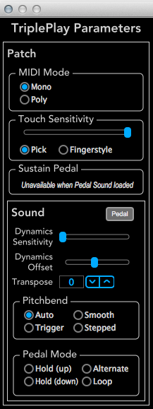 TriplePlay Parameters panel - Synth view (cont d) Transpose control. You can transpose each synth independently from the others.
