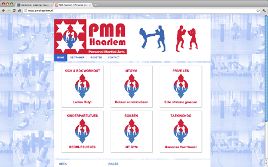 G r a p h i c D e s i g n / l o g o & w e b s i t e http://www.pmahaarlem.nl/ PMA Haarlem Personal Martial Arts PMA Symbolizes a new way to a complete training.
