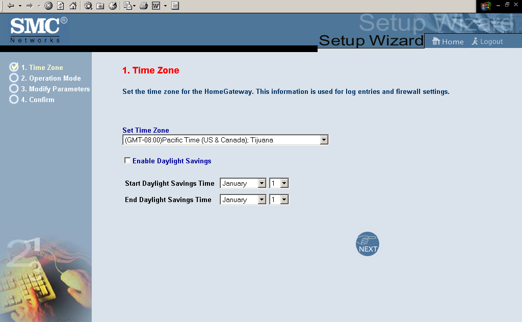 SETUP WIZARD Setup Wizard Time Zone Click on Setup Wizard. The first item in the Setup Wizard is Time Zone setup. For accurate timing of log entries and system events, you need to set the time zone.