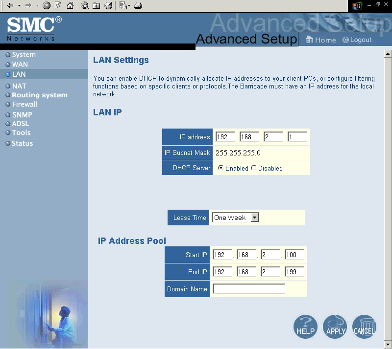 CONFIGURING THE BARRICADE LAN Parameter LAN IP IP Address IP Subnet Mask DHCP Server Lease Time Description The IP address of the Barricade.