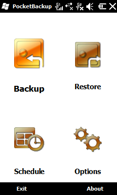 9.11 Pocket Backup Tap Start > Tools > Pocket Backup. Backup 1. On the initial screen, select Backup. 2. On the next screen, you are asked to select the items you would like to save in the backup.