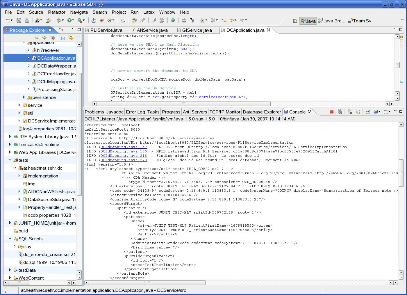 7.1 Description of Prototype Implementation 131 Figure 7.1: Screenshot of the Document Clearing Service running inside the Eclipse IDE in the protected network of the Innsbruck University Hospital.
