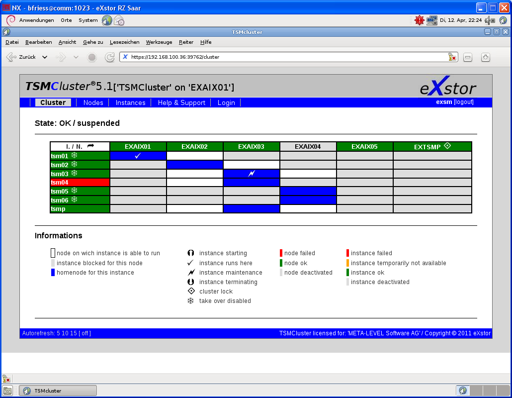Webinterface Information about the physical nodes and TSM server in