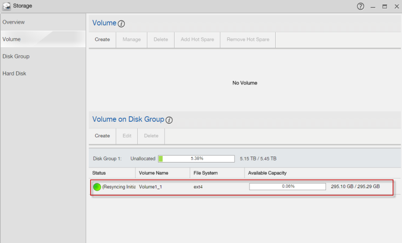 Create a volume in your disk group.