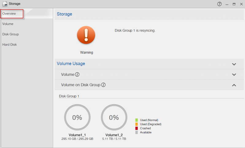 You can create multiple volumes on a disk group and customize the size of a volume.