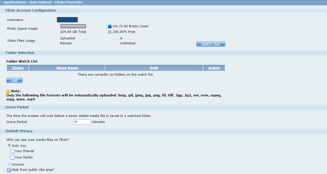 Afterwards, users need to set which folder(s) of the NAS540 will be monitored and uploaded to the Flickr website.