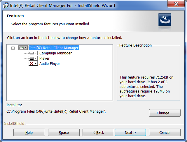 By default, the full installer will install both the Campaign Manager and the Intel RCM Player software on the system.