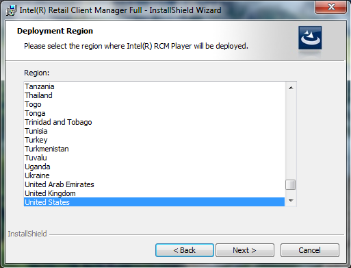 Choose the Deployment Region where the Intel RCM Player will be deployed with Intel RCM Audience Analytics.