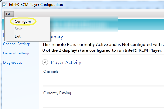 5 Intel RCM Player Channel Configuration The Intel RCM Player is configured with a channel configuration file (.xml).