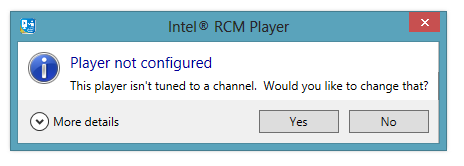 6 Running the Intel RCM Player Please read this entire section thoroughly before starting the Intel RCM Player software for the first time.