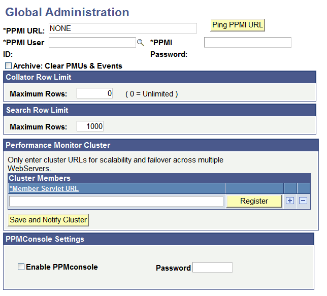 Administering the Performance Monitor Chapter 4 Global Administration page