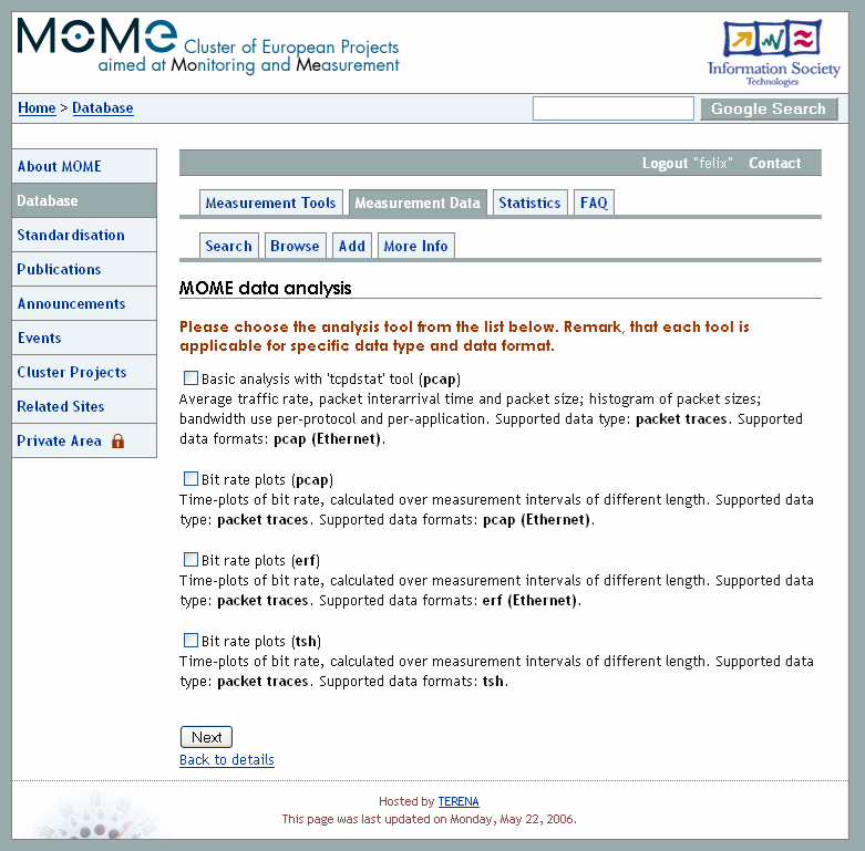 data Results stored in the MOME database as additional meta-data
