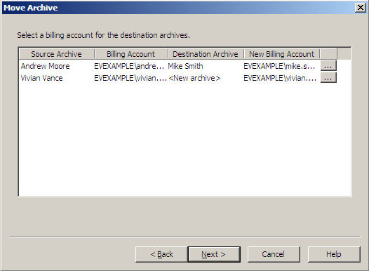 8. If selecting a new archive, the administrator must select