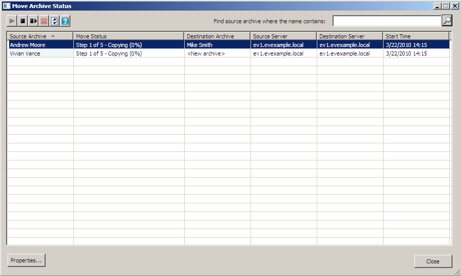 The status window may automatically appear after running the Move Archive wizard and the Show