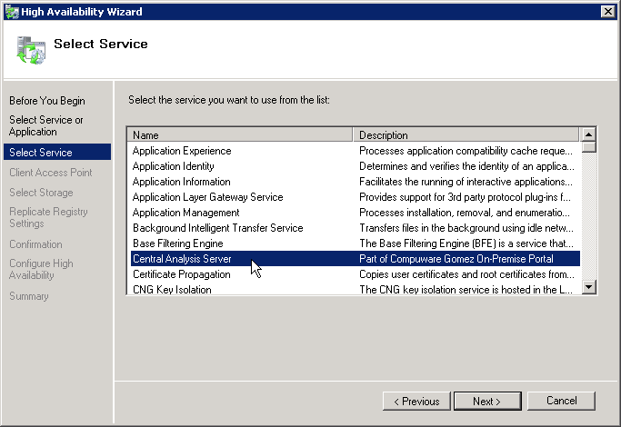 Appendix Providing Failover for Report Server 4. From the list of available services select your report server service.