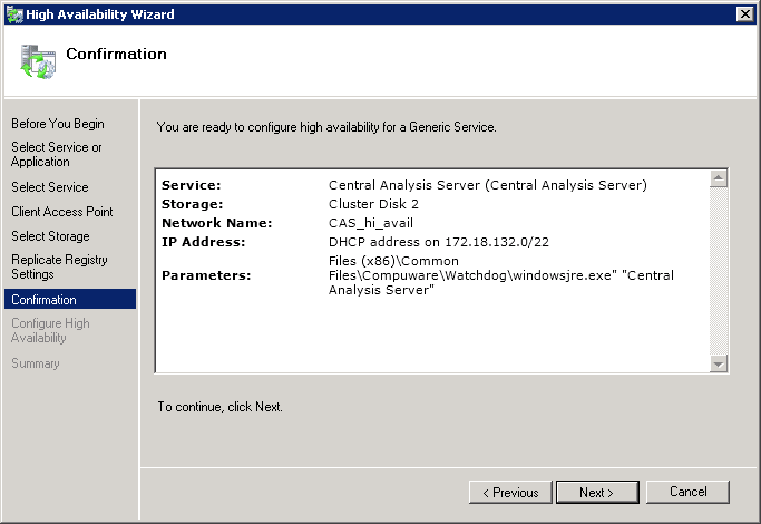 Appendix Providing Failover for Report Server 7. omplete high availability service setting.