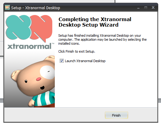 Figure 28.Installing the Xtranormal desktop. Figure 29 shows the last step of the downloading procedure of the Xtranormal software Figure 29.Launching the Xtranormal software.