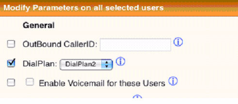 3. Select the check box next to DialPlan (Figure 5-34). 4. Select the desired dial plan in the DialPlan drop-down list. 5. Click the Update button.