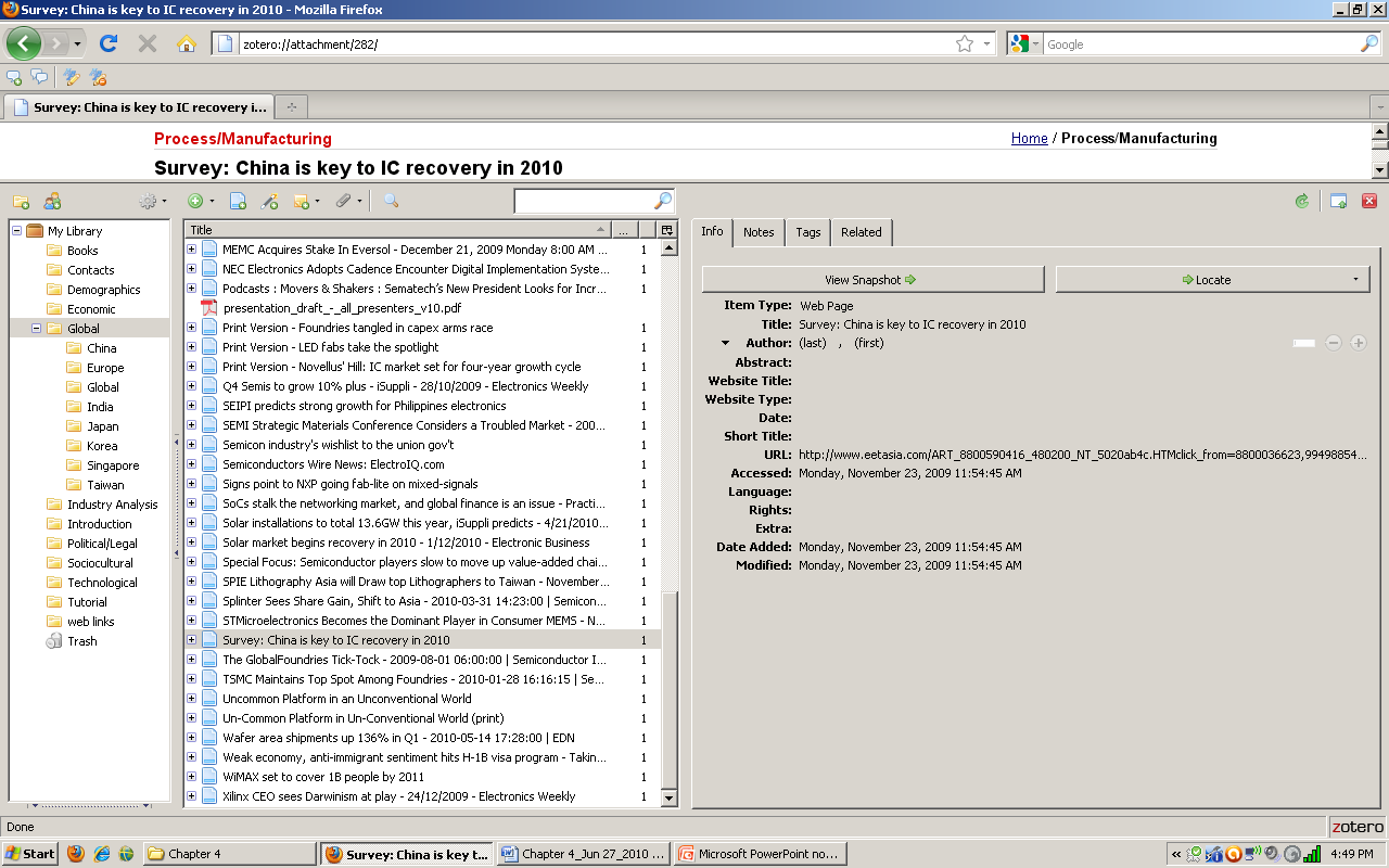 Chuck Howe Figure 3.5: Data Collection Using Zotero In Figure 3.5, the Global folder is highlighted in the far-left column.