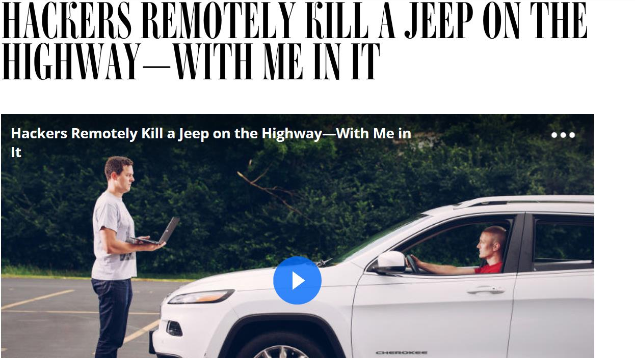 In The News Wired writer Andy Greenberg reports on Jeep Cherokee exploit All of this is possible only because Chrysler, like
