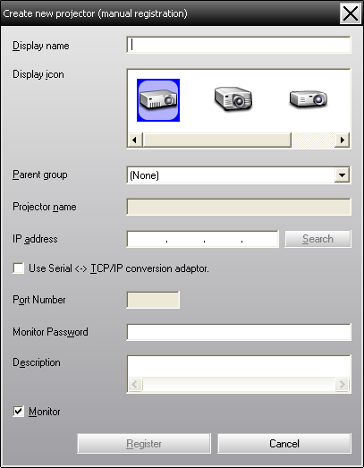 "Registering and deleting projectors for monitoring 17 B After entering the details, click ""Register"" to start the registration. When the message is displayed, click ""OK""."