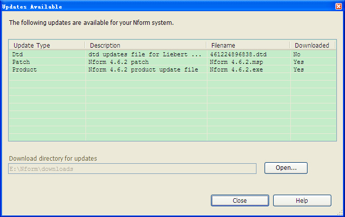 15.5 Check for Updates Using the Help Menu You may check manually for updates to the Liebert Nform software and device support (DTD) files at any time. See 8.