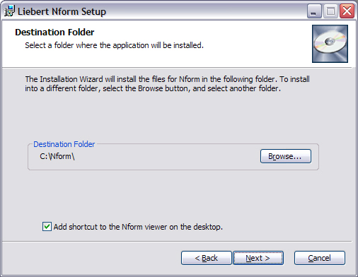 Installing the Software 5. In the Destination Folder window, shown below: Emerson recommends using the default location for software installation.