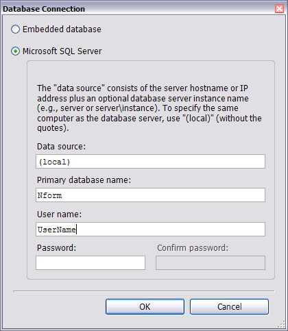 18.4 Database Menu This menu has options for: Making changes to database connection options (18.4.1 - Database - Connection) Database maintenance tasks for a bundled database (Sections 18.4.2-18.4.6) 18.