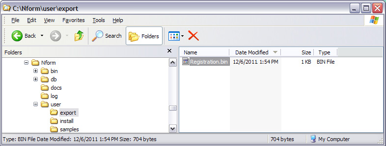 Installing the Software 2. Copy product registration request file to an Internet-enabled computer. Navigate to the product registration request file called Registration.