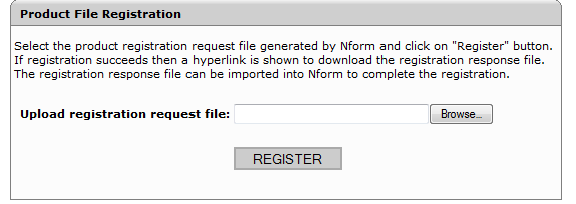 com/nformsa/) on a different, Internet-enabled computer. Click on Register Product in the My Nform System menu, as shown below. 4. Upload the exported product registration file.