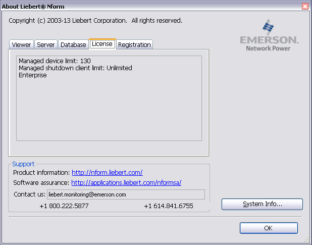 4.4.3 View License Key Information Getting Started With Liebert Nform Users with Licenses access (see 13.