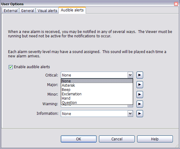 7.4 User Options - Audible Alerts Tab Configuring User Options Click the Audible alerts tab in the User Options window to specify whether sounds are assigned to alarm severity levels.