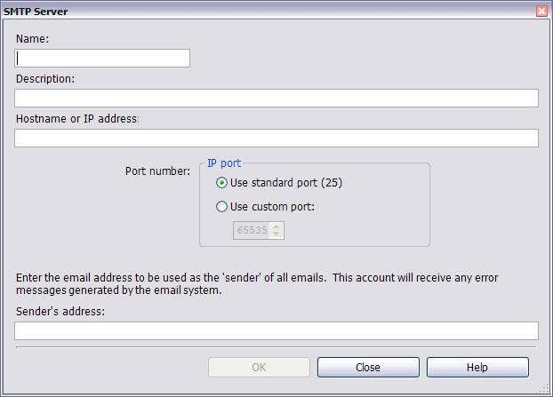 Configuring Actions SMTP Server 8. The SMTP Server is the outgoing mail server that will be used to send e-mail notifications. There are three ways to specify SMTP servers: a.