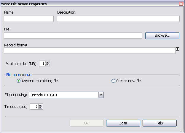 Configuring Actions 12.2.3 Configure Write File Actions To configure a Write File action to record alarm information in a file: 1.