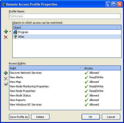 Network Discovery and Visualization Figure 9. Example of a remote access profile Customizable GUI NetCrunch ships with a highly customizable GUI.