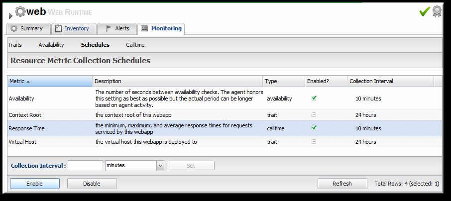 JBoss Operations Network 3.1 How to Manage JBoss Servers with JBoss ON 9.2.2. Enabling the Call-Time Metric Response time metrics are configured on a live application deployment.