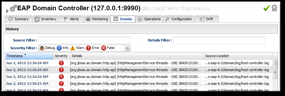 Chapter 9. Monitoring JBoss EAP 6 Resources When event monitoring is enabled, the matching log messages are displayed in the Events tab for the resource. Figure 9.7. JBoss EAP 6 Event Logging 9.5.