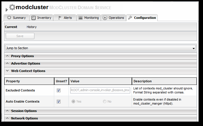 Chapter 10. Using the mod_cluster Services in EAP 6 4. Click the Configuration tab on the resource entry. 5. Go to the Web Context Options section. 6. Unset the Excluded Contexts field, and add the names of any contexts to exclude.